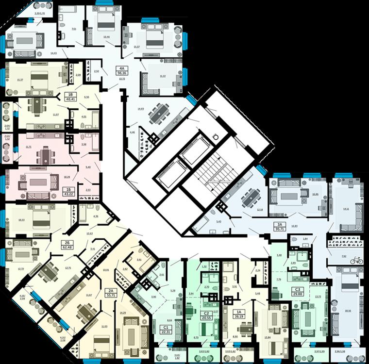 планировки квартир жк кристалл ростов на дону