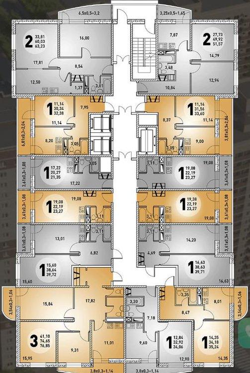 планировка квартир жк центральный 3